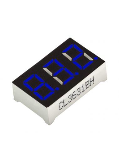 """Wyświetlacz LED 3 cyfry 7-segmentowy niebieski 0.36"""" w. anoda"""