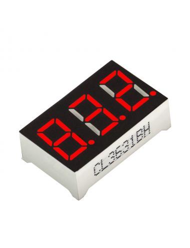 """Wyświetlacz LED 3 cyfry 7-segmentowy czerwony 0.36"""" w. anoda"""