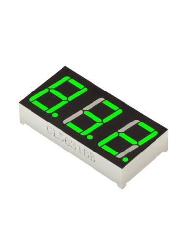 """Wyświetlacz LED 3 cyfry 7-segmentowy zielony 0.56"""" w. anoda"""