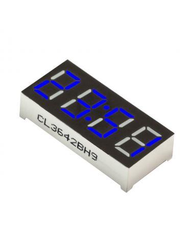 """Wyświetlacz LED 4 cyfry 7-segmentowy niebieski 0.36"""" dwukropek"""