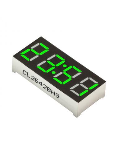 """Wyświetlacz LED 4 cyfry 7-segmentowy zielony 0.36"""" dwukropek"""