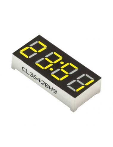 """Wyświetlacz LED 4 cyfry 7-segmentowy żółty 0.36"""" dwukropek"""