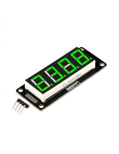 RobotDyn - wyświetlacz LED 4 cyfry 7-segmentowy zielony TM1637