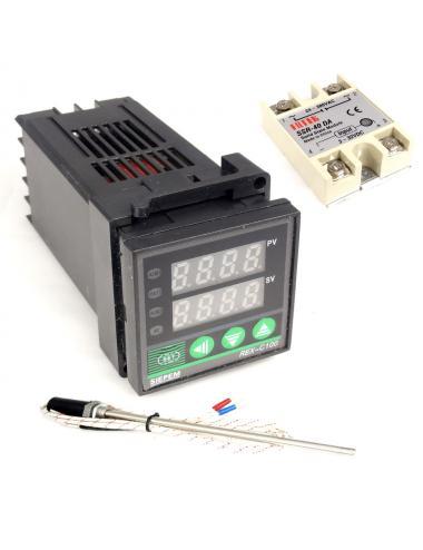 Regulator temperatury termostat REX-C100 z sondom i przekaźnikiem [zestaw]